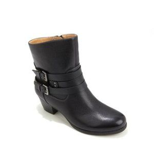 Naturalizer Katrina Black Leather Buckle Booties